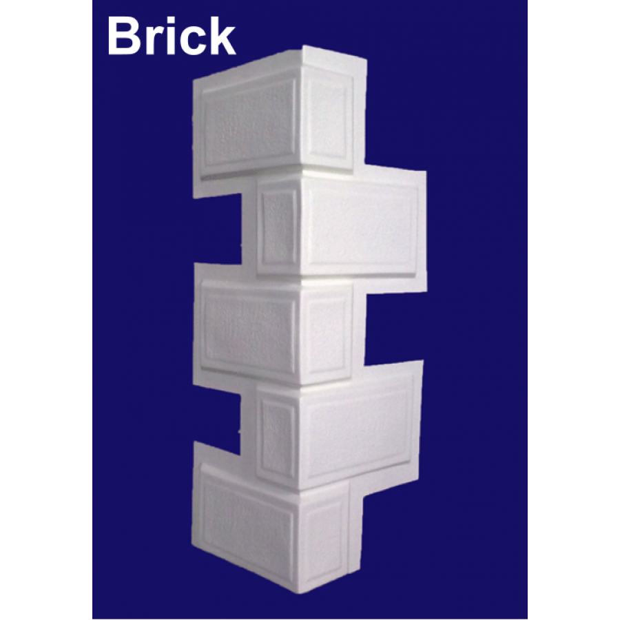 8ft brick effect corner texture faux quoins for park home for Brick quoin corners